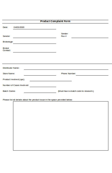sample product complaint form