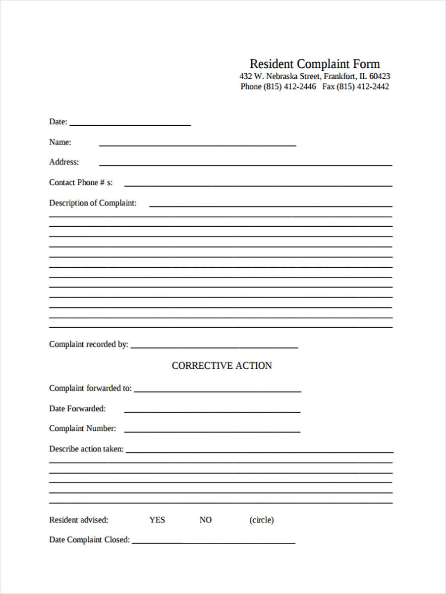 6 Resident Complaint Form Samples Free Sample Example