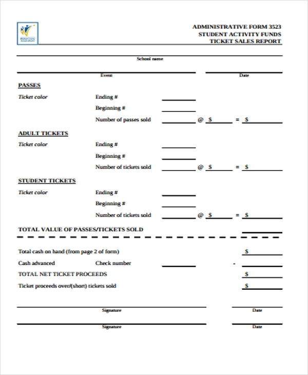 sample sales activity report form