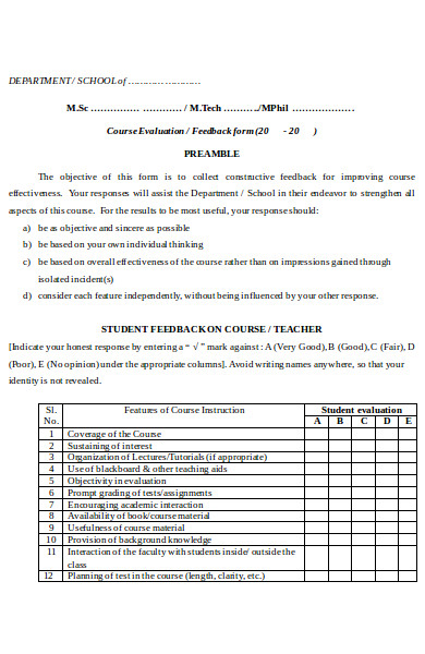 sample teacher feedback form