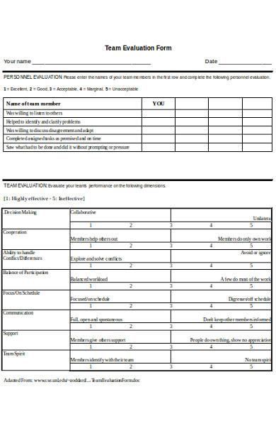 sample team evaluation form