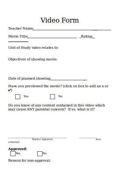 sample video form