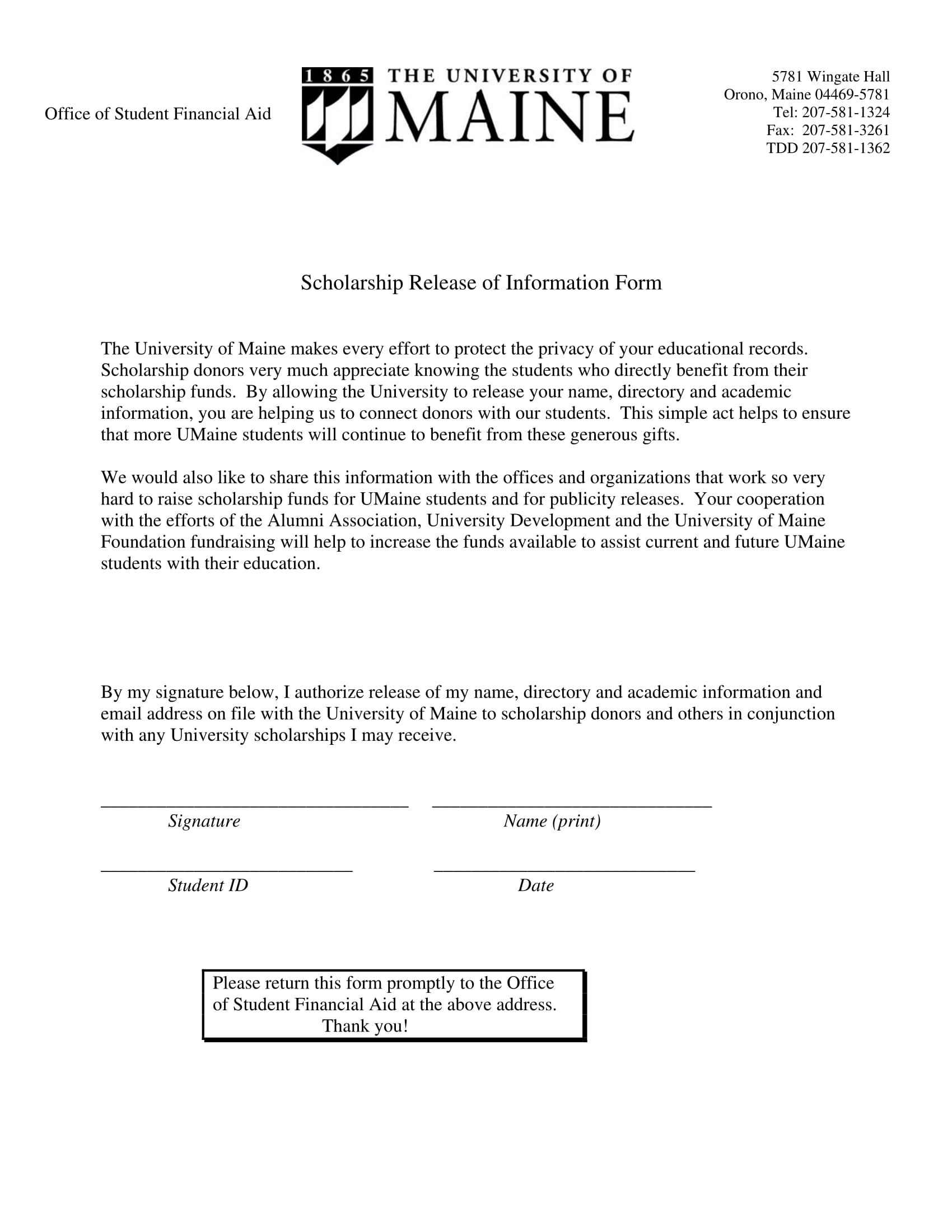 scholarship release of information form 1