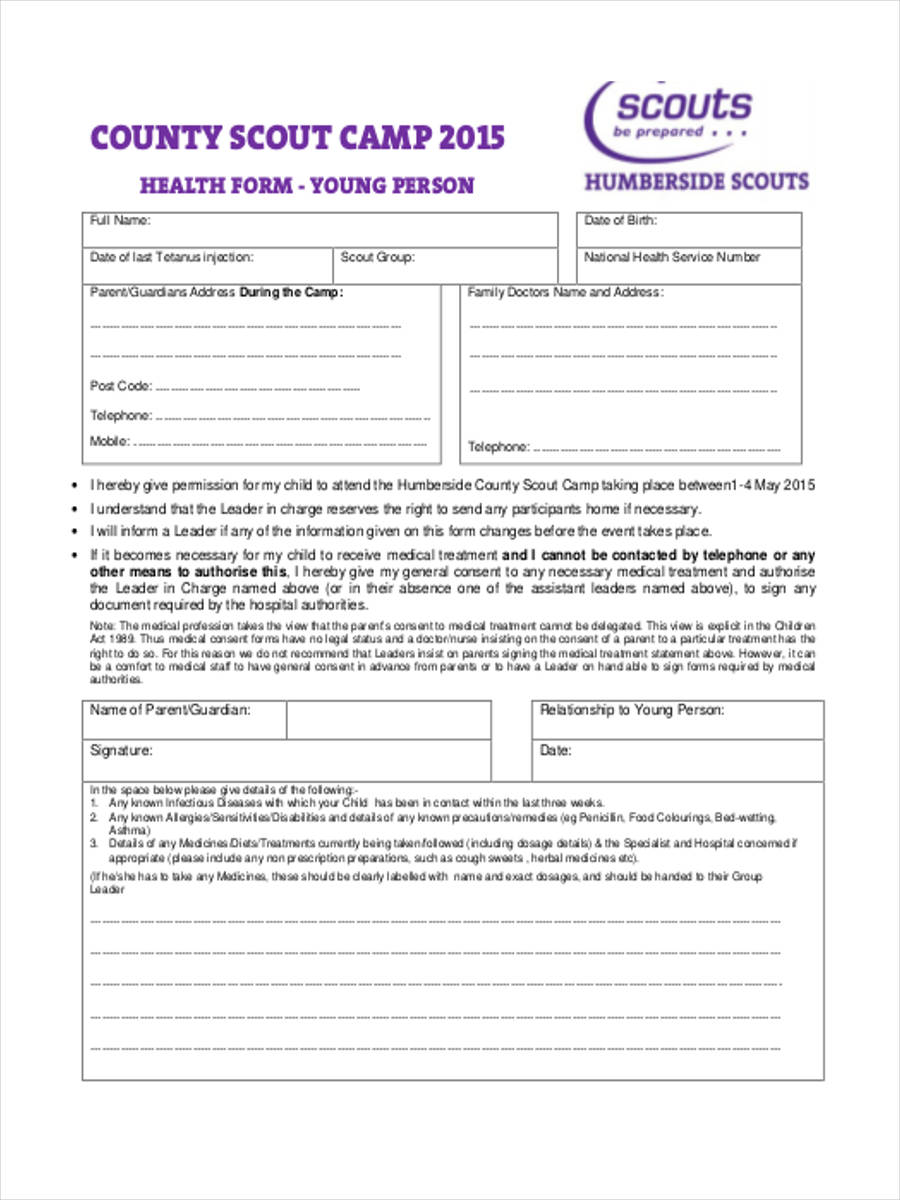 scout camp health form
