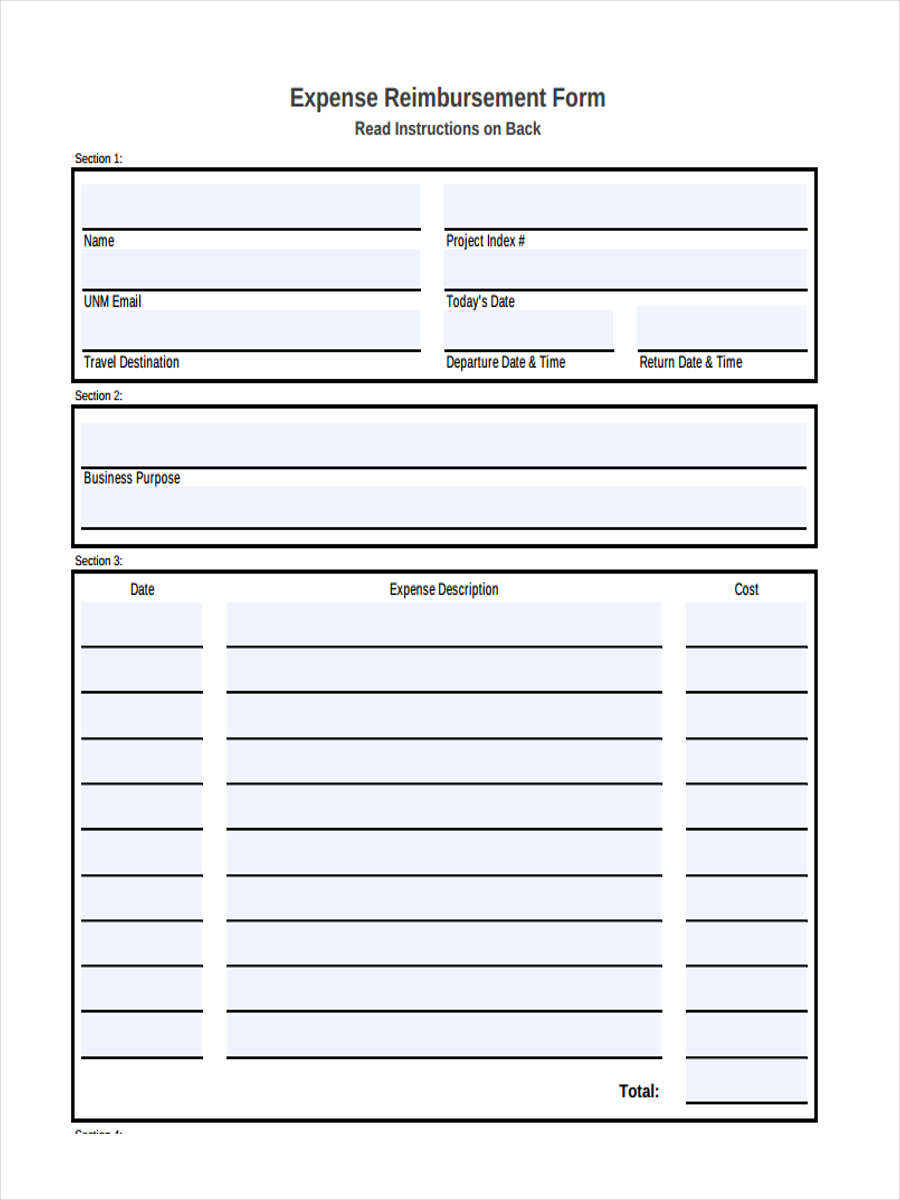 18+ Expense Reimbursement Forms in PDF