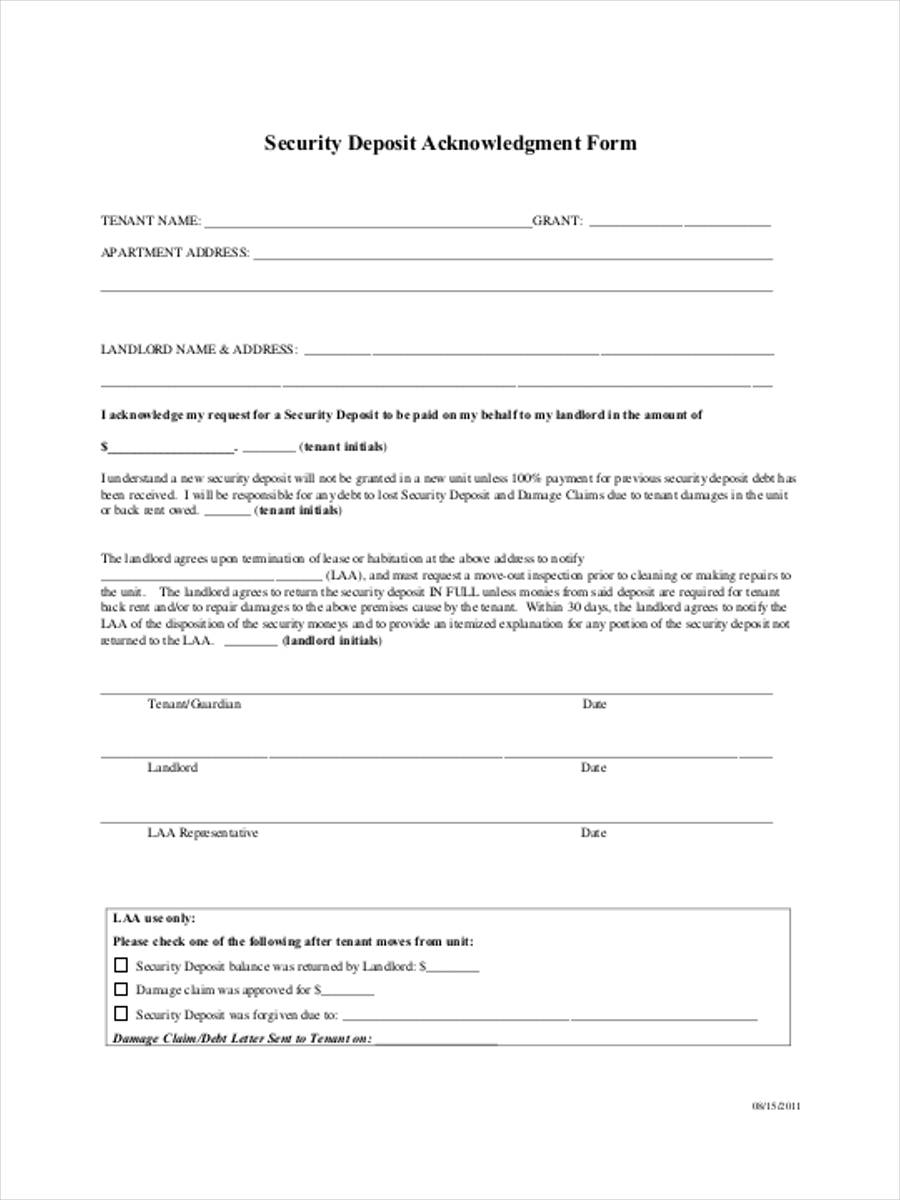 security deposit acknowledgement form