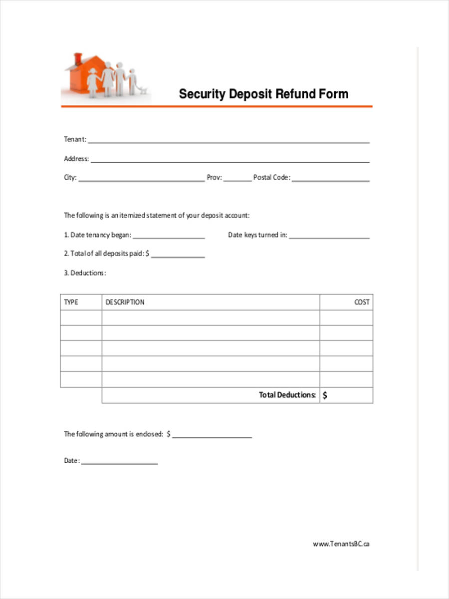 free 8  security deposit forms in pdf