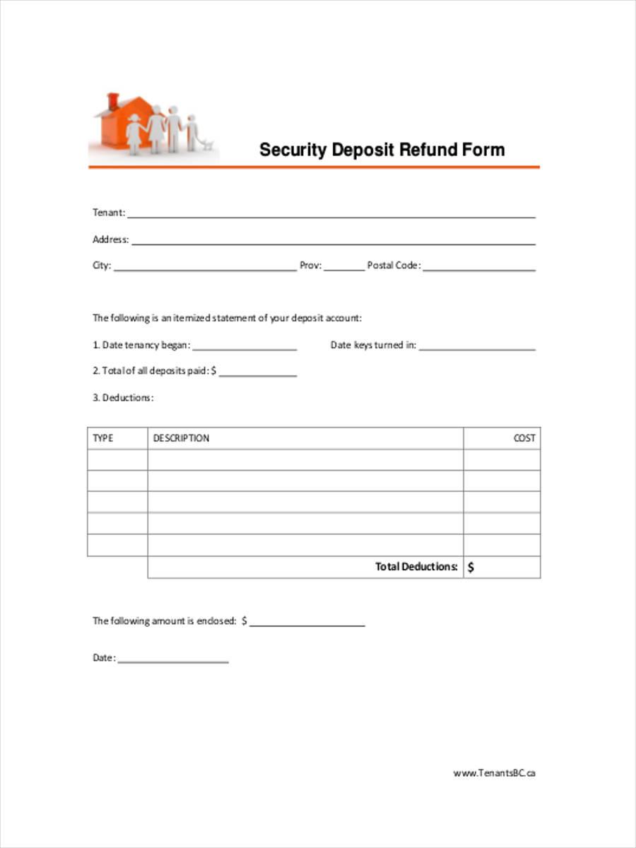 8 deposit refund form samples free sample example format download security deposit refund spiritdancerdesigns Choice Image