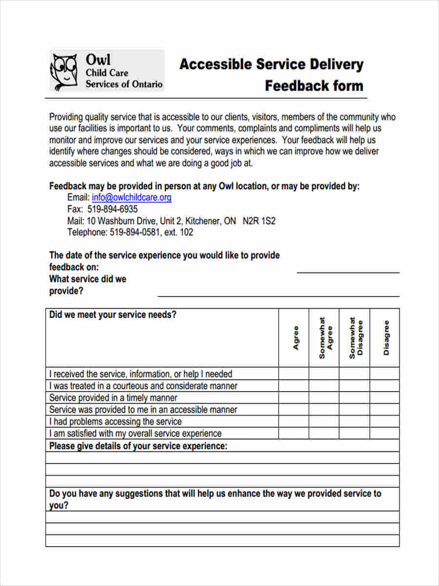 7 service feedback form samples free sample example