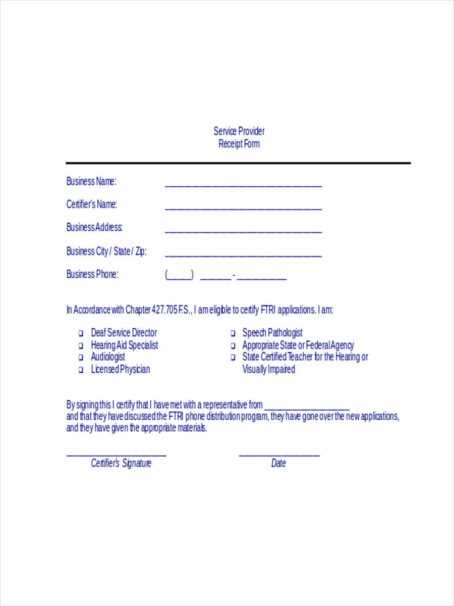 6 Service Receipt Forms Free Samples Examples Format Download – Service Receipt