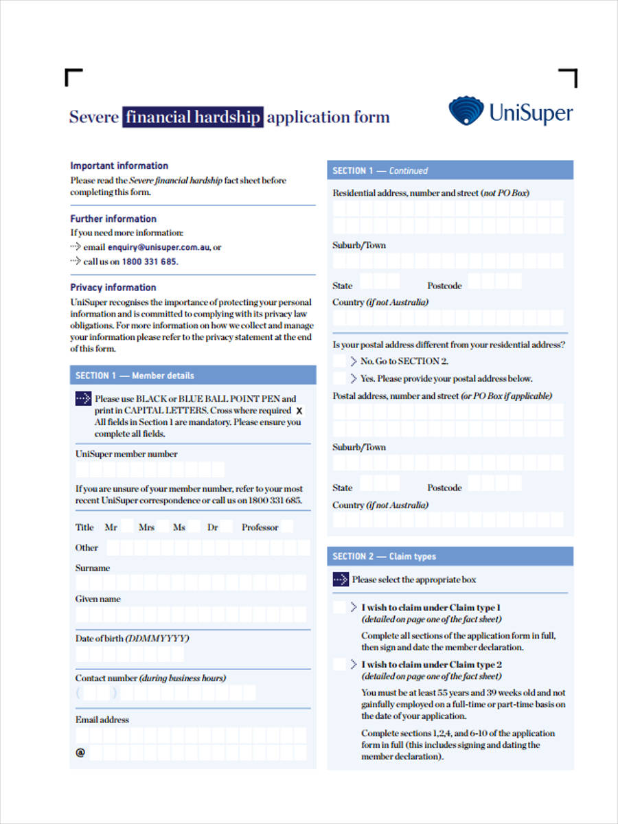 6+ Financial Hardship Forms - Free Sample, Example Format Download
