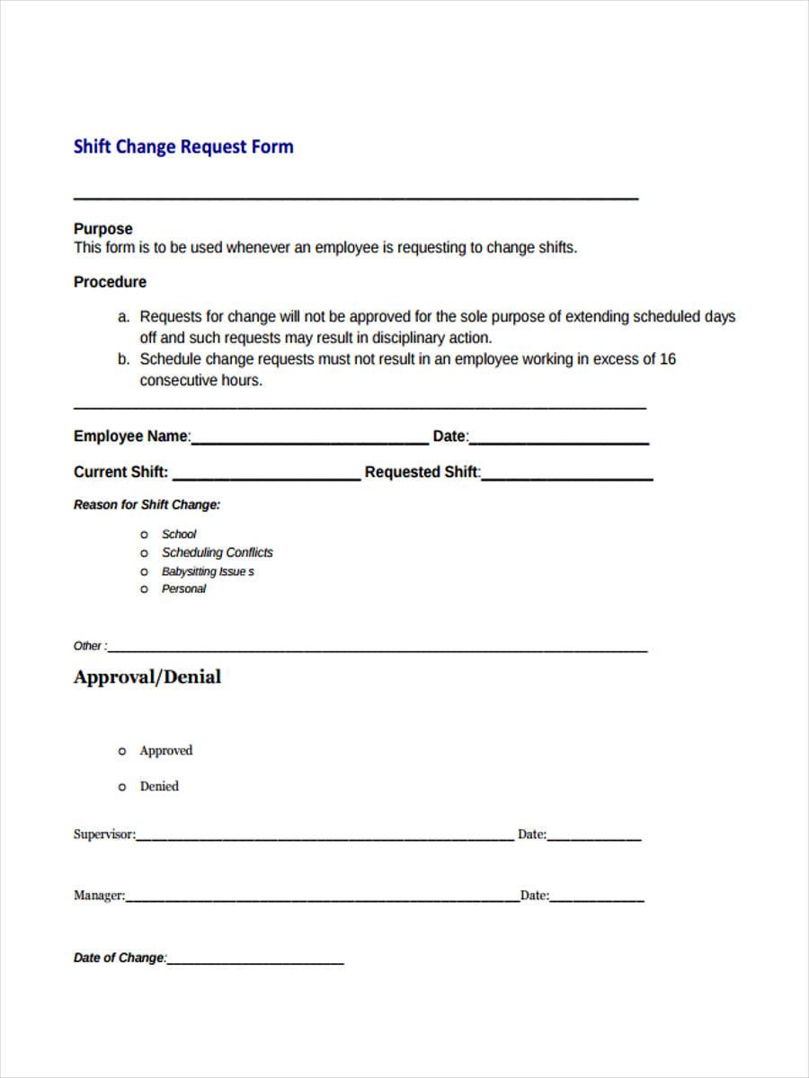 shift change request form1