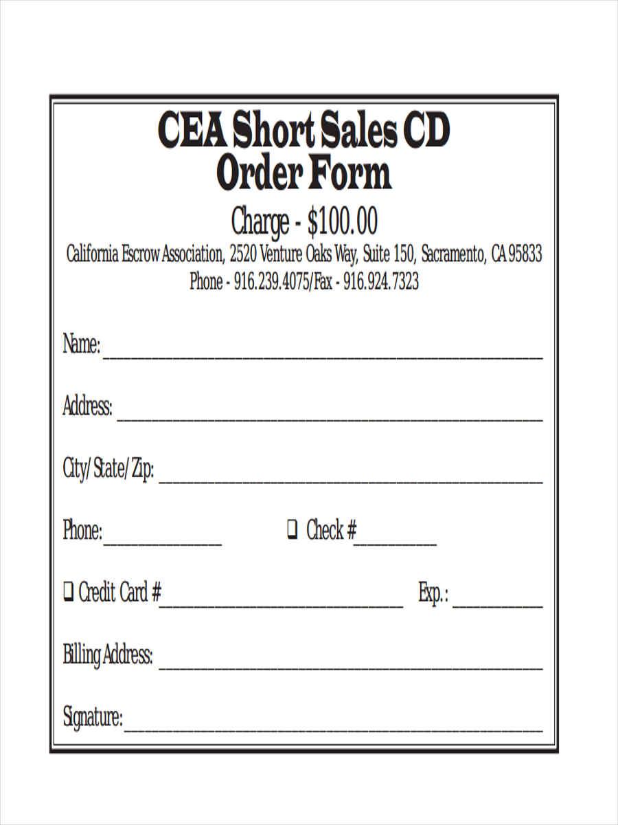 short sales cd order form