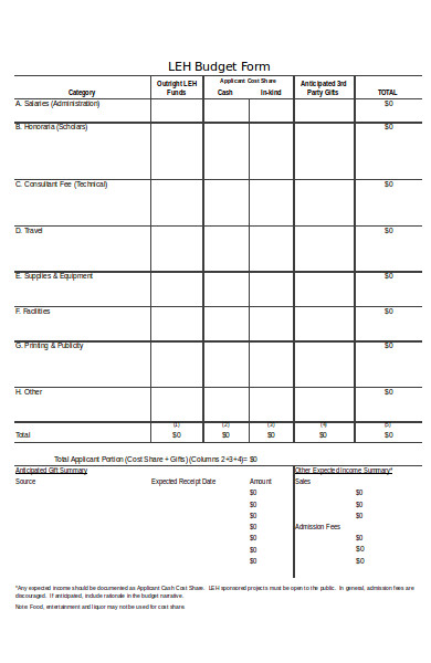 simple budget form