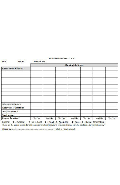 simple interview assessment form