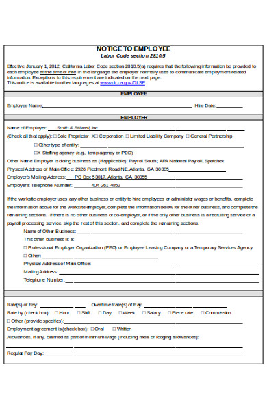 simple notice to employee form