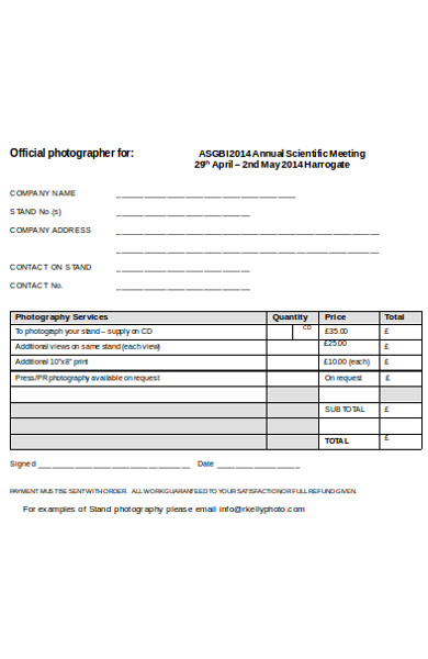 simple photography order form
