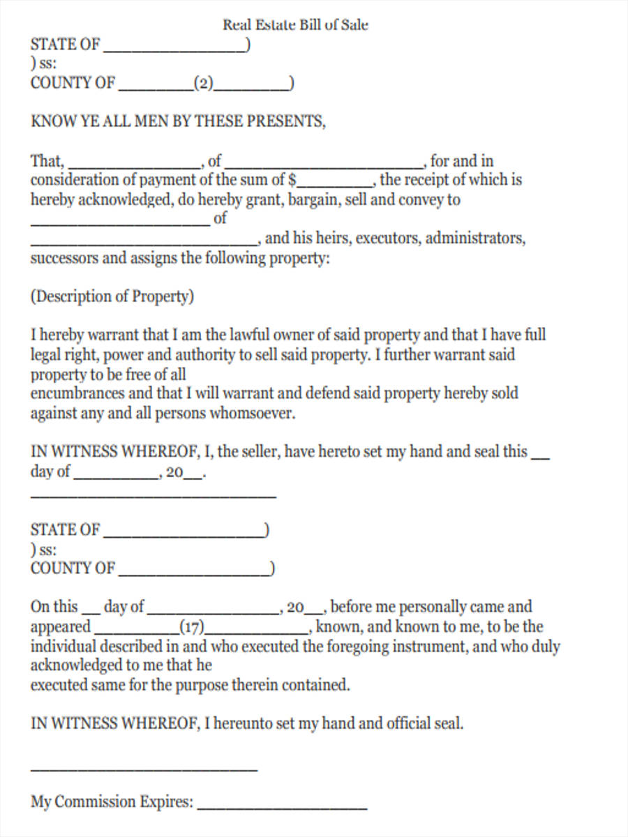 5 real estate bill of sale forms free sample example format download