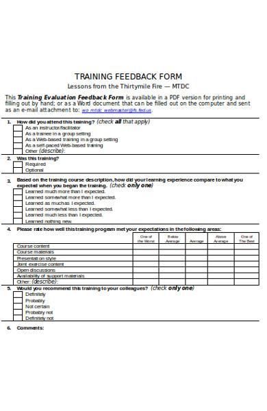 simple training feedback form3