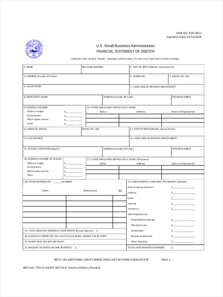 5  business financial statement forms