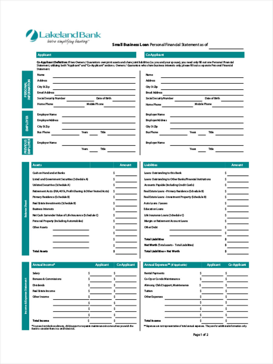 25 financial statement form in pdf
