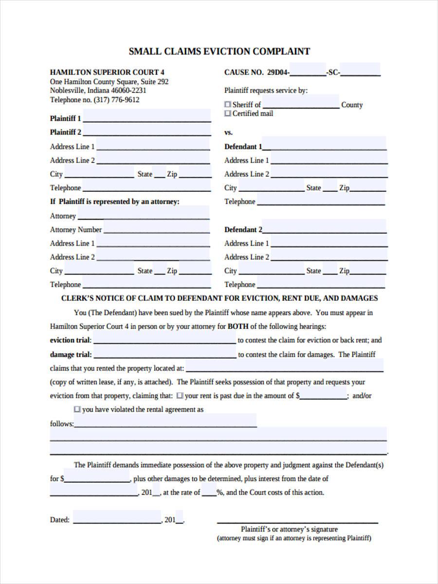 6  eviction complaint form samples