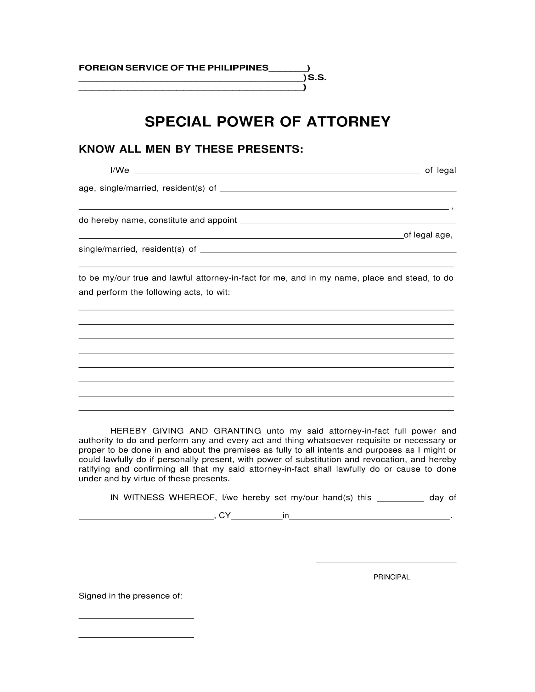 special power of attorney form 1