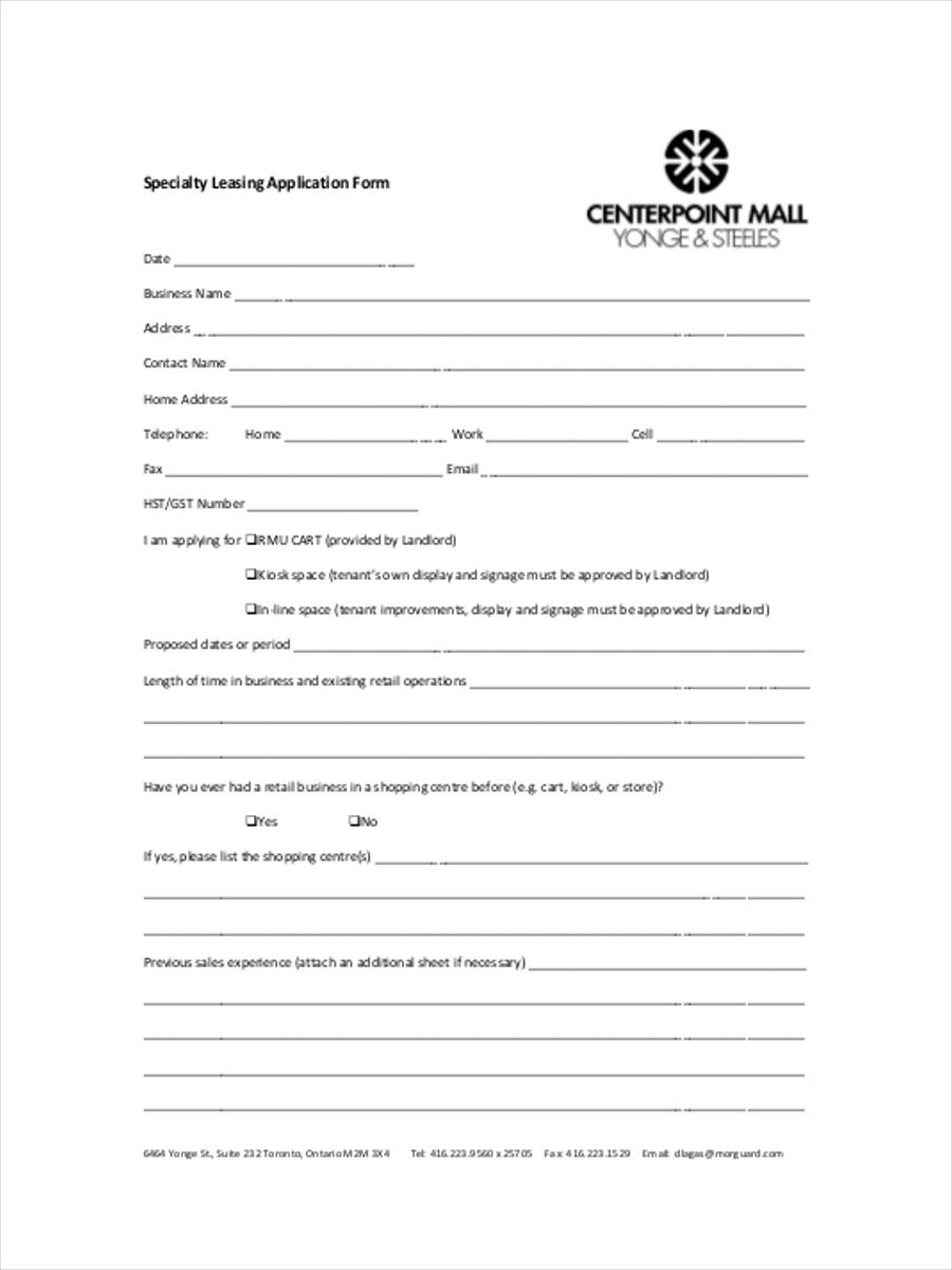 specialty leasing application