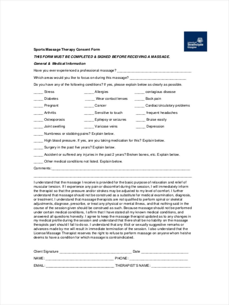 sports massage consent pdf