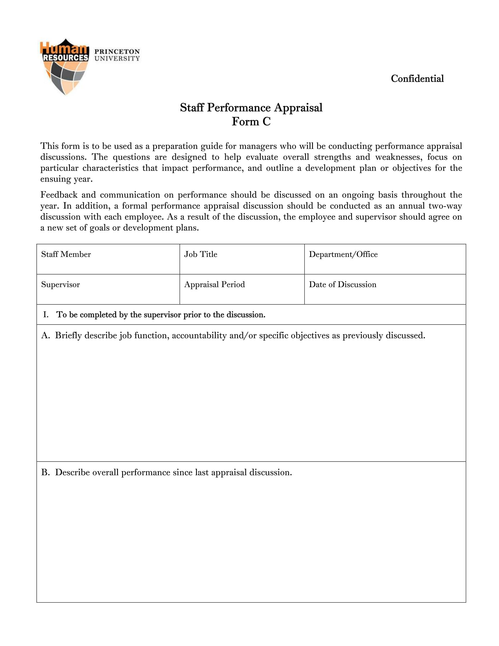 staff appraisal feedback form 1