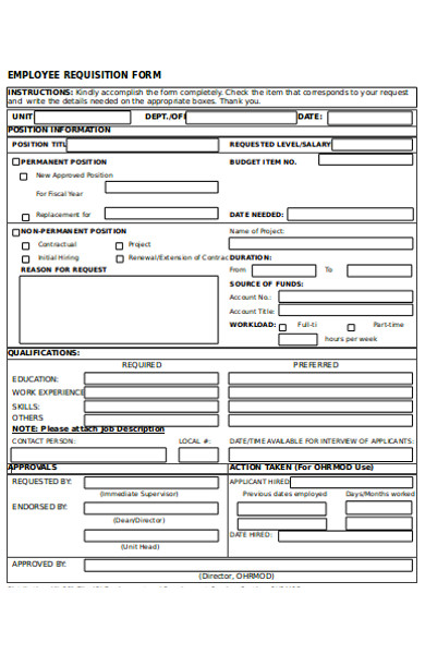standard employee requisition form