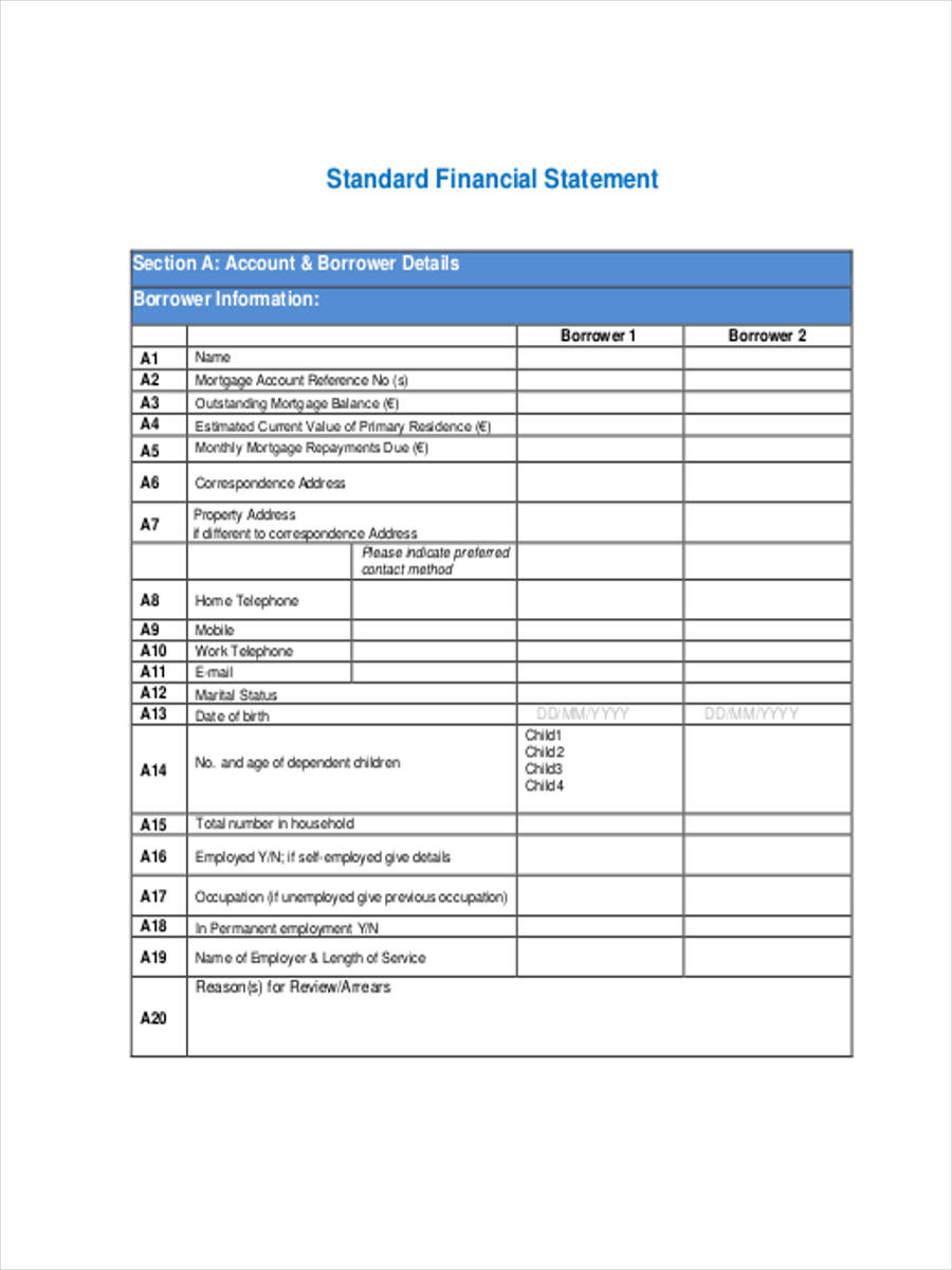standard financial statement form