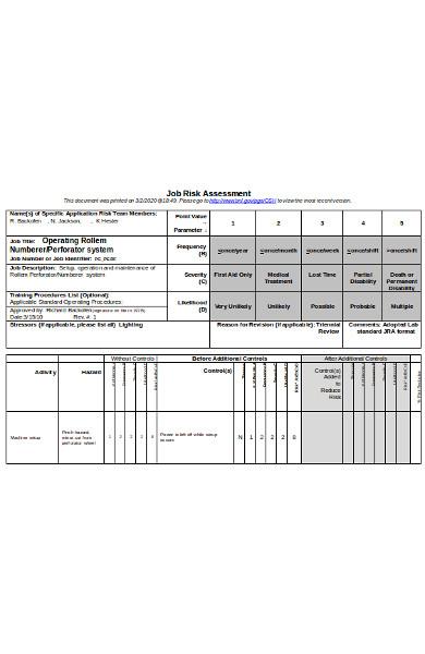 standard job risk assessment form