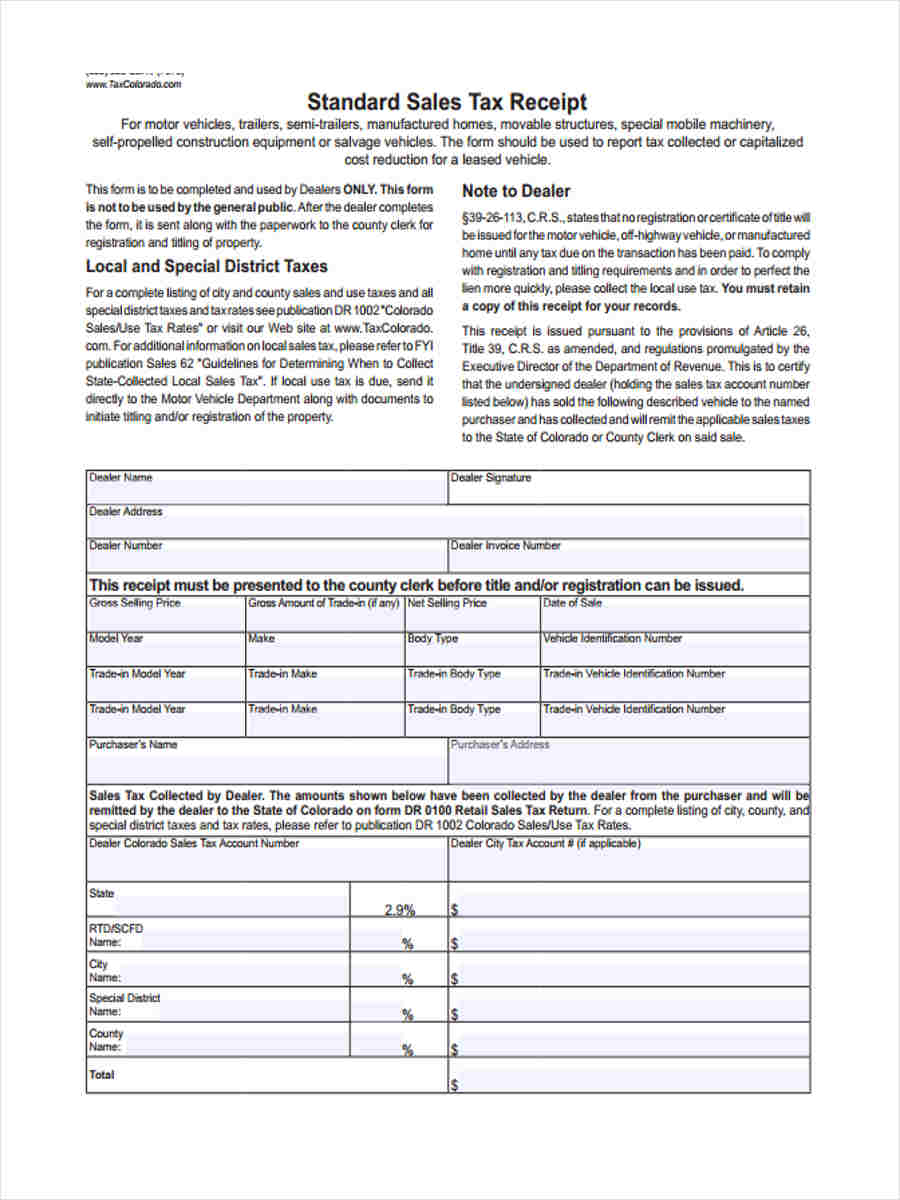 free 6  standard receipt forms in samples  examples  formats