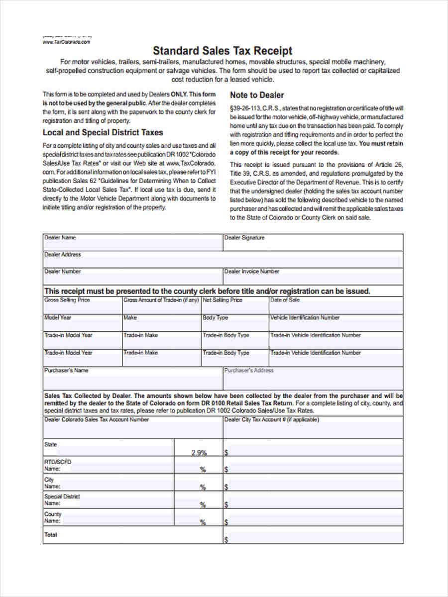 5  standard receipt form samples