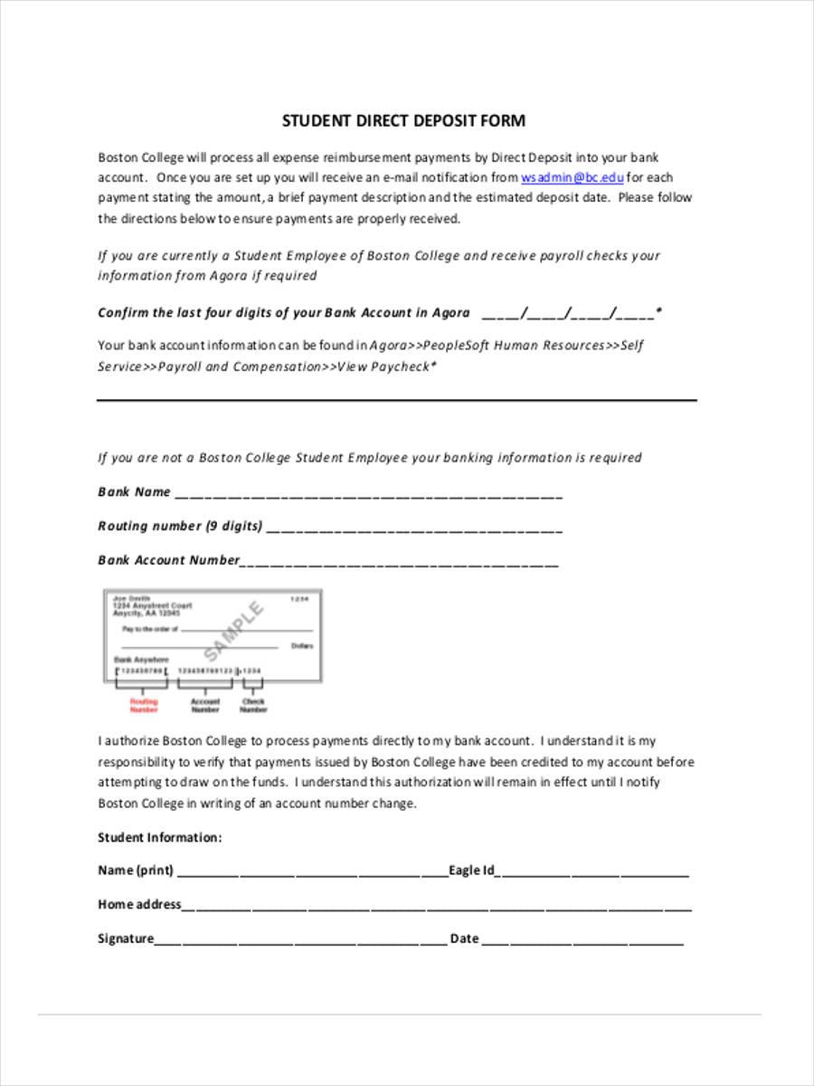 student direct deposit