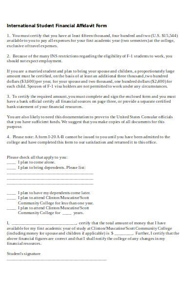 student financial affidavit form