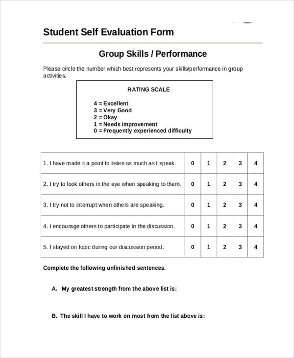 21 self evaluation form examples for Student self evaluation templates
