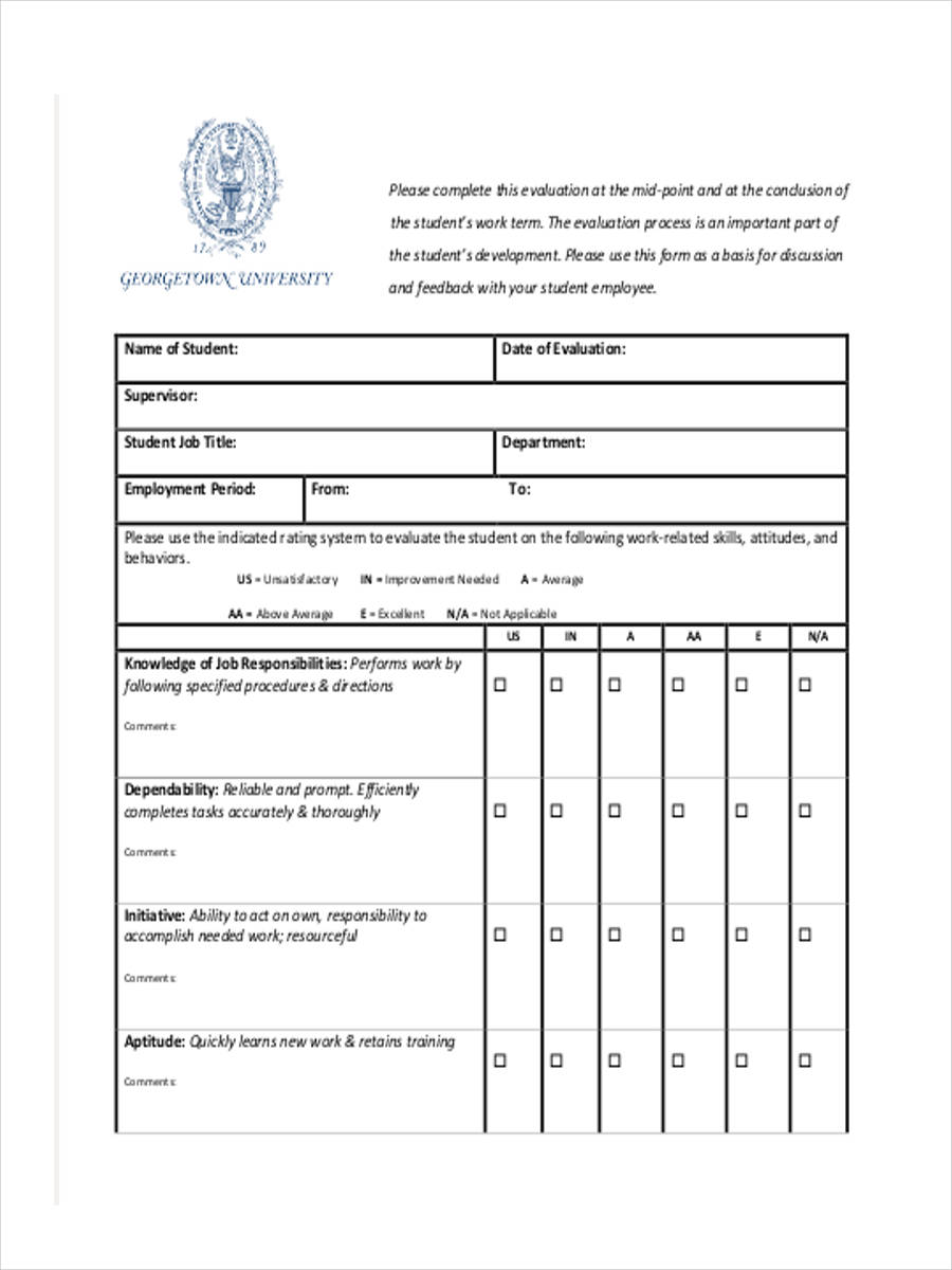 student performance review form1
