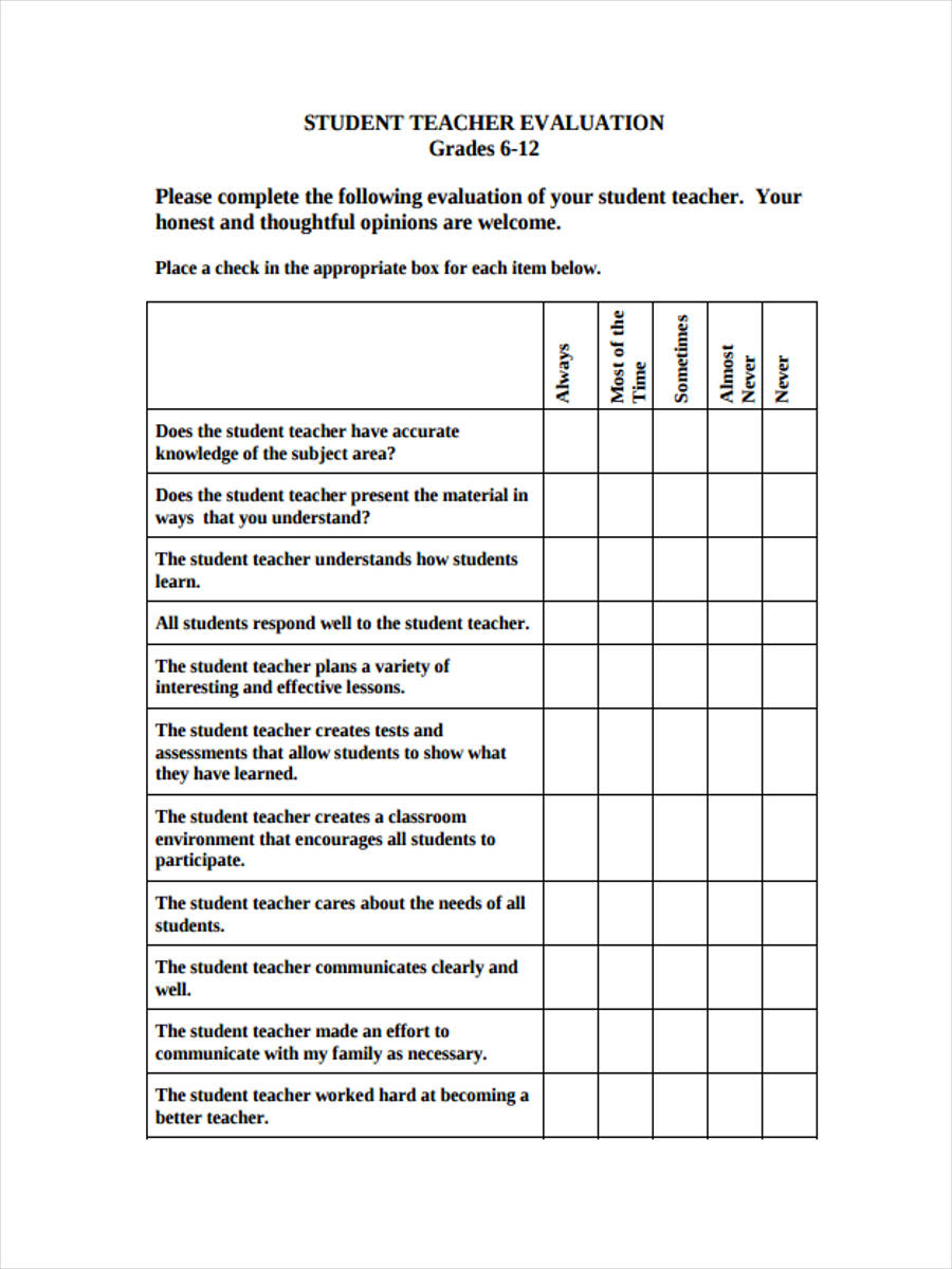 student teacher assessment