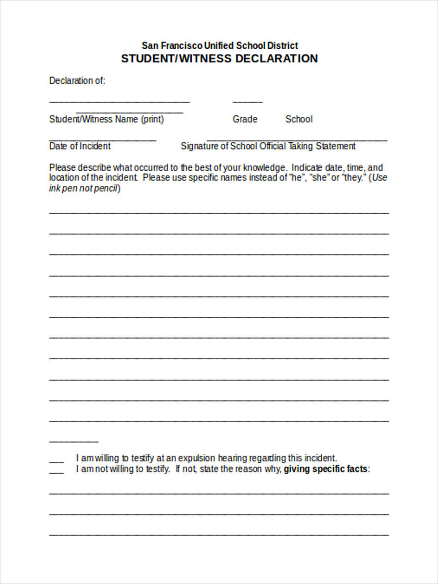 Fill Witness Statement Form Pdf, Download Blank Or Editable Online. Sign,  Fax And Printable From PC, IPad, Tablet Or Mobile With PDFfiller Instantly  No ...