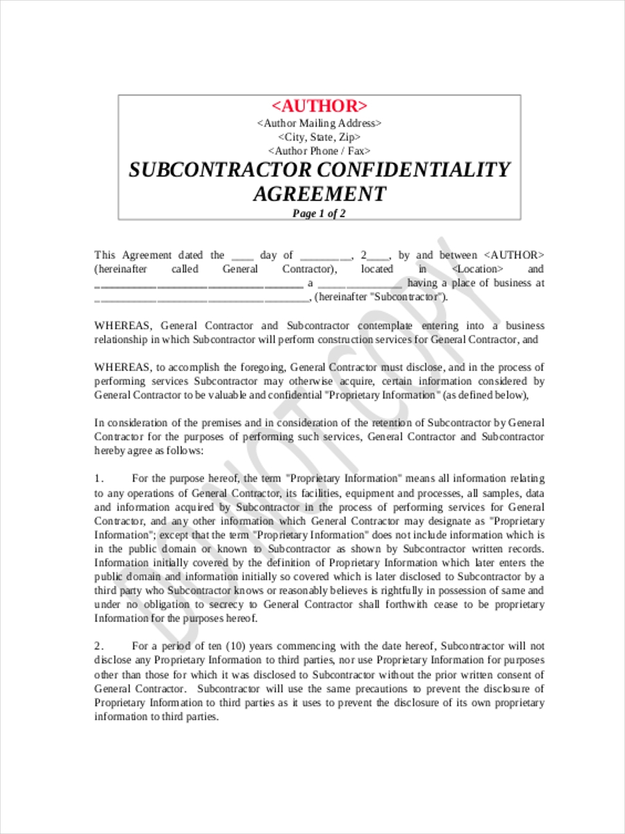 sub contractor confidentiality agreement form