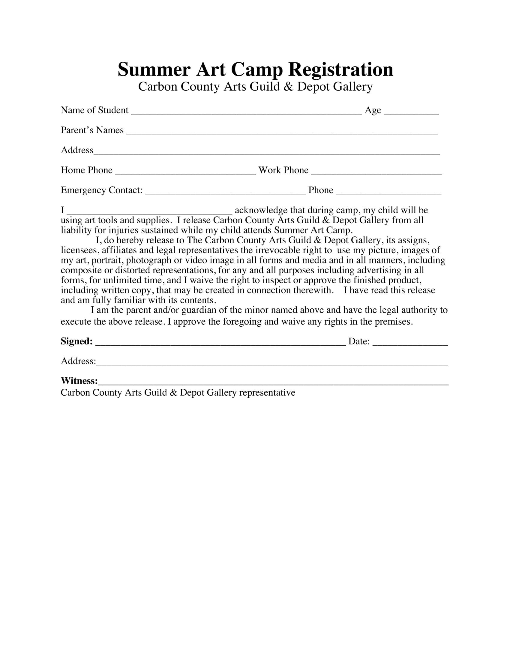 summer art camp registration form example 1