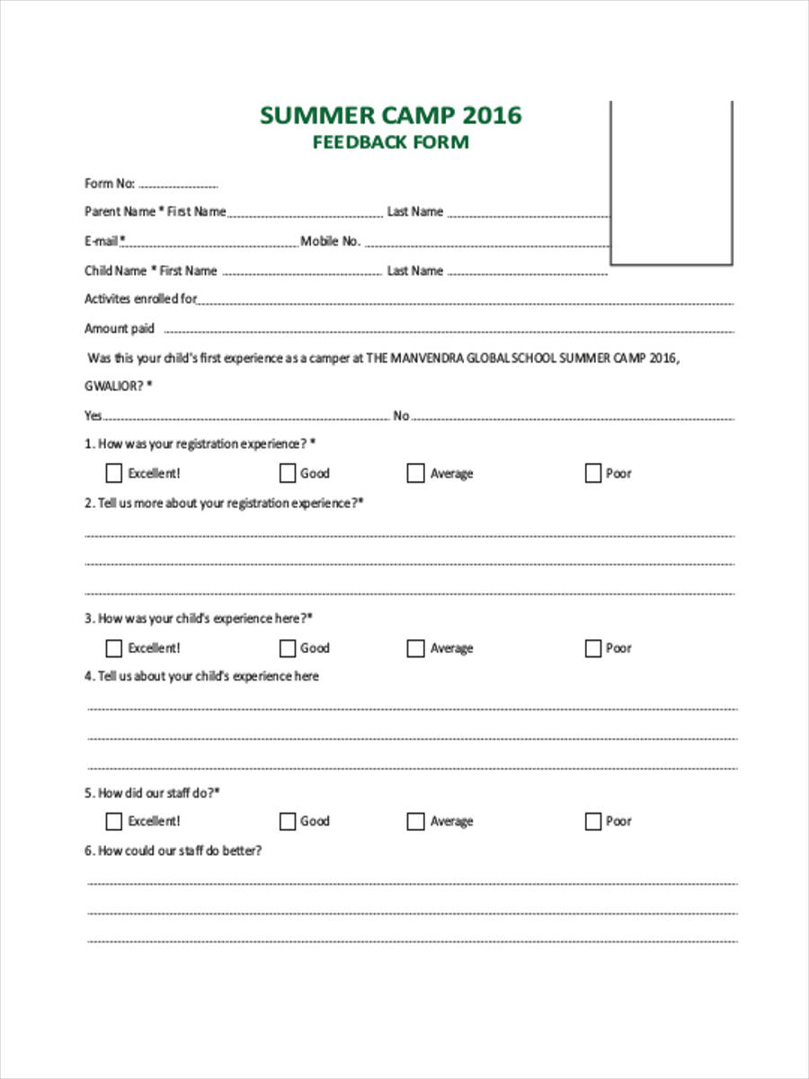 free 8  camp feedback forms samples in ms word
