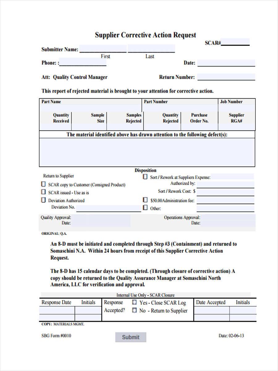 supplier corrective action request