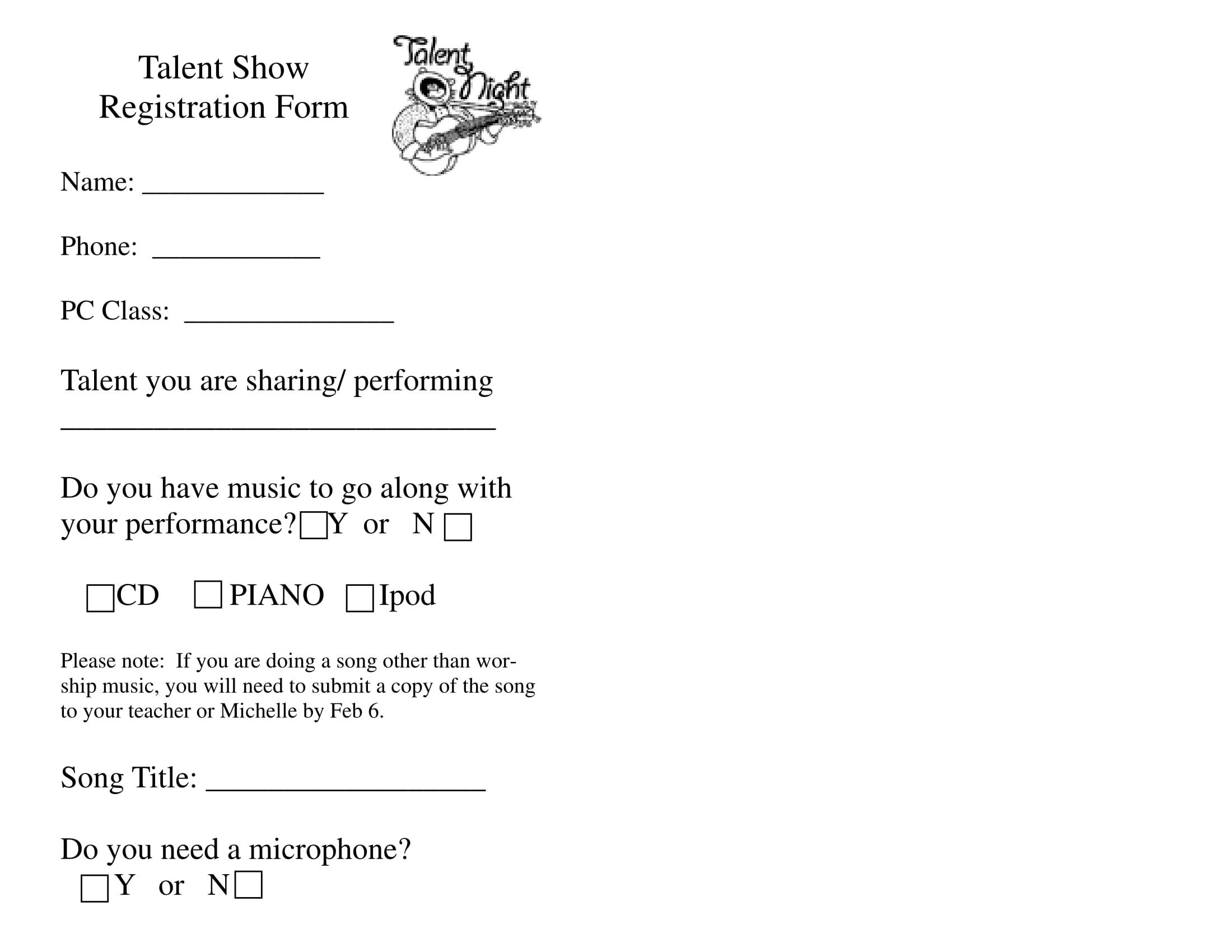 talent show registration form 1
