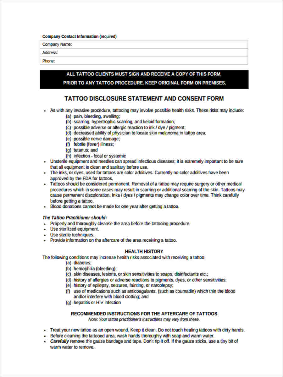 tattoo disclosure consent