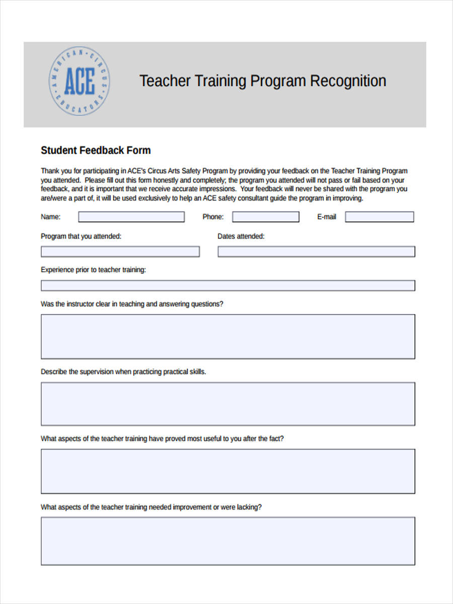 Awesome Teacher Training Feedback Form Photo Gallery