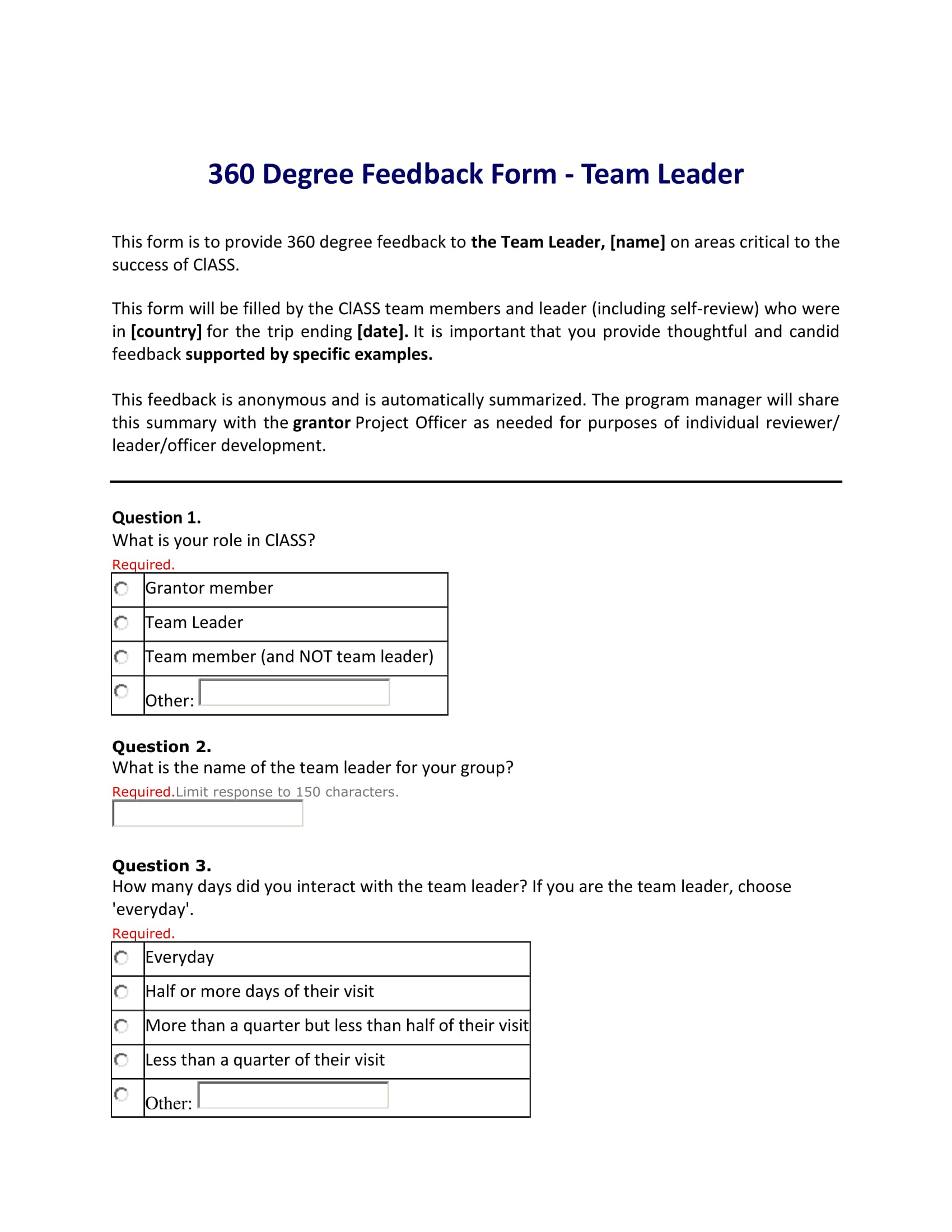 6+ 360 Degree Feedback Forms - Free Samples, Advantages, and ...