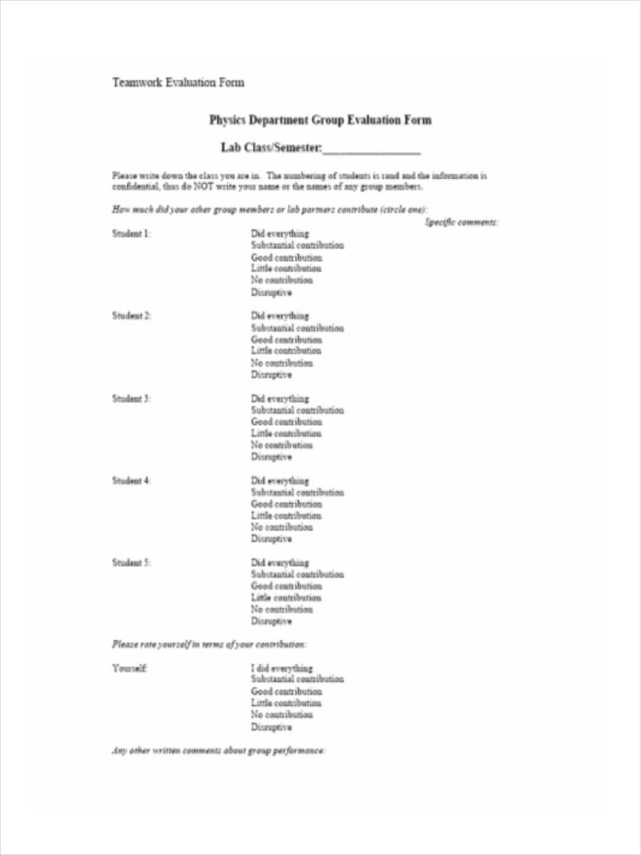 team work evaluation